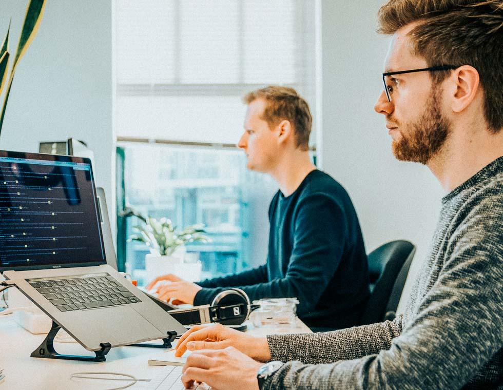 To mænd, der arbejder på computeren